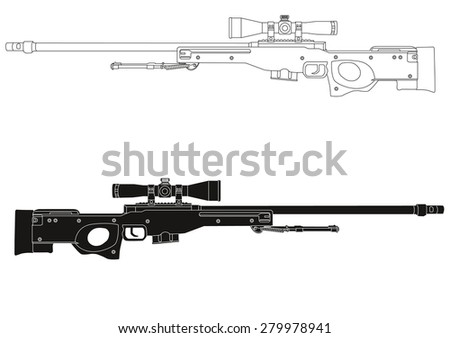 sniper rifle illustration eps