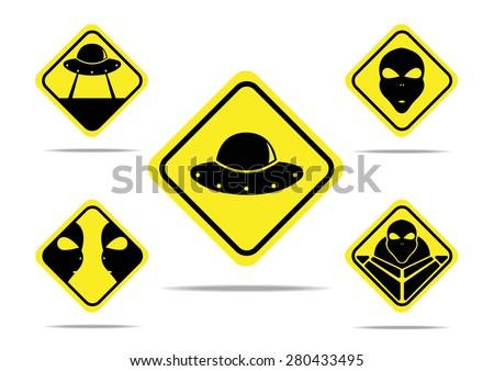 five vector yellow sign aliens