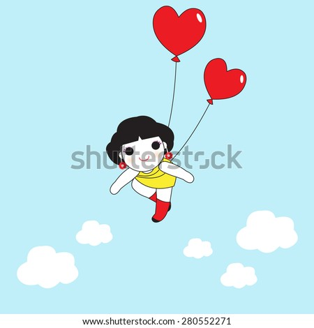 balloons lift girl up in the