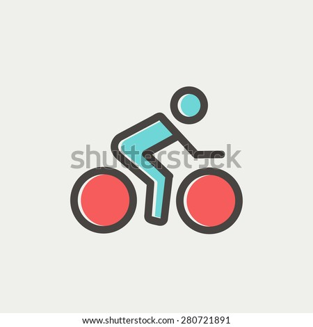 sport bike and rider icon thin