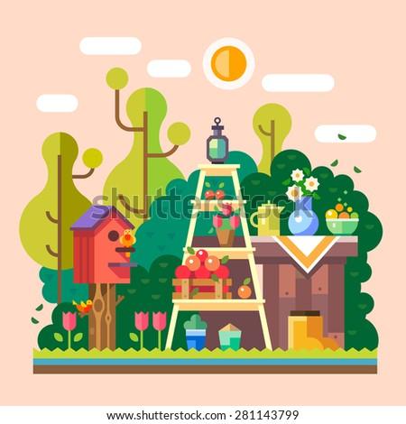 summer  in village garden