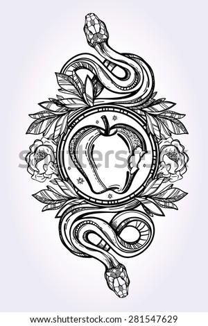 hand drawn vintage tattoo art