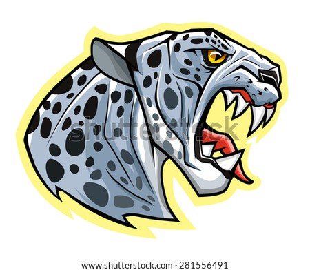 stylized angry snow leopard