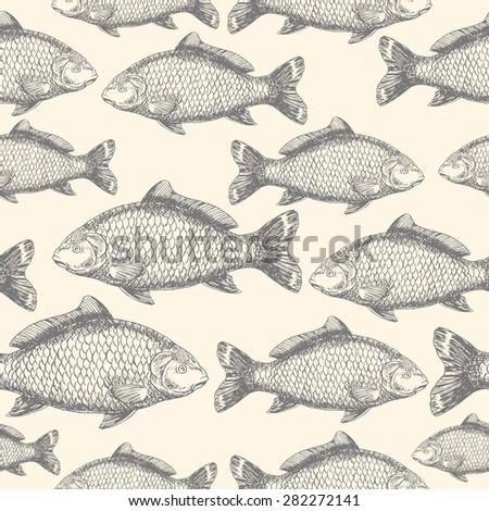carp fish asian style seamless
