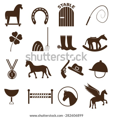 brown simple horse theme icons