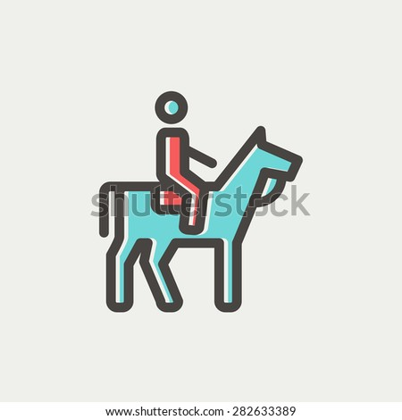 horse riding icon thin line for