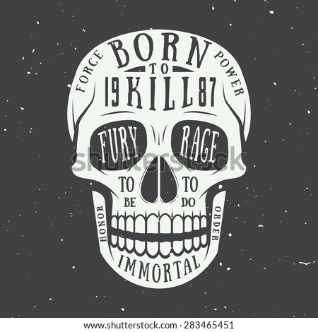vintage skull label  emblem and