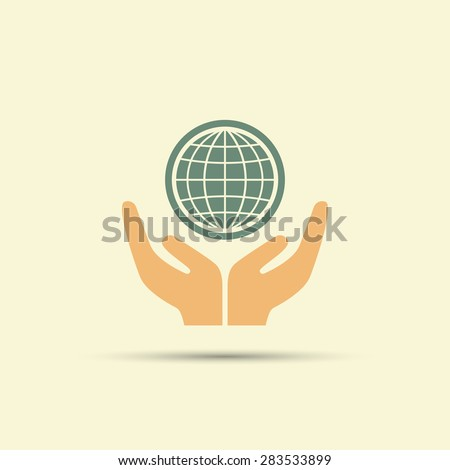 two open hands holding globe