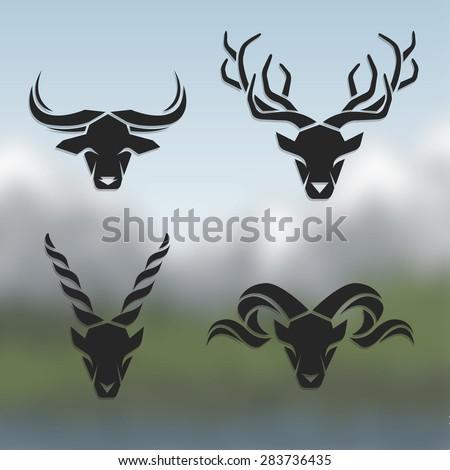 logos horned animals on