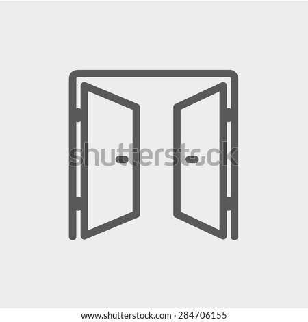 two doors icon thin line for