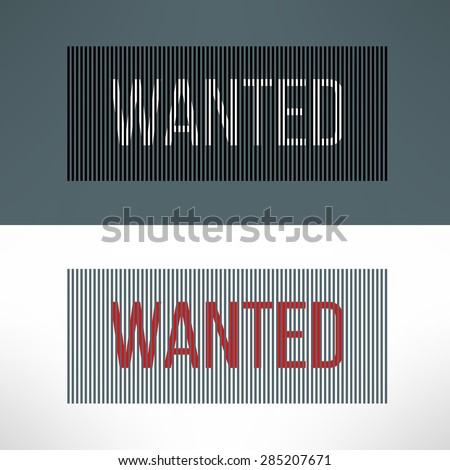 vector wanted sign on a striped