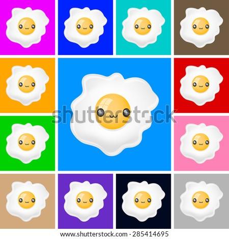 cute fried egg icon   emblem