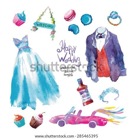 watercolor vector wedding set