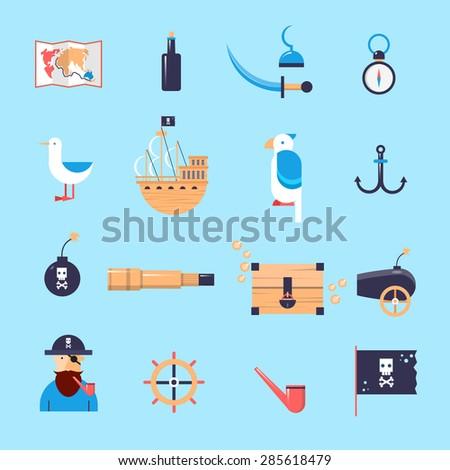 set of pirates icons flat