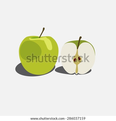 two green apple half of apple