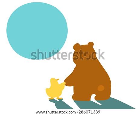 little duck hold hand big bear