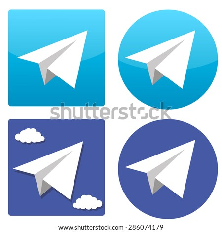 four vector paper plane icons