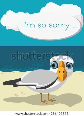 funny cartoon seagull standing