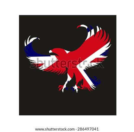 united kingdom flag and eagle