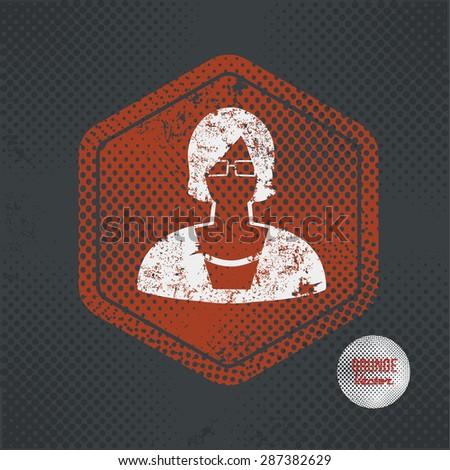 woman stamp design on old dark