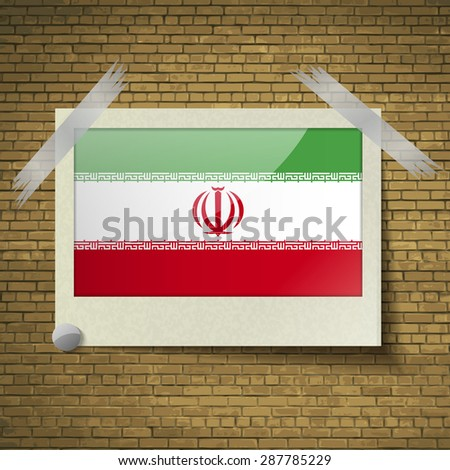 flags of iran at frame on a