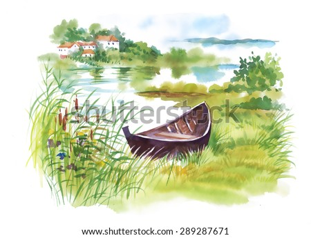 watercolor rural landscape with