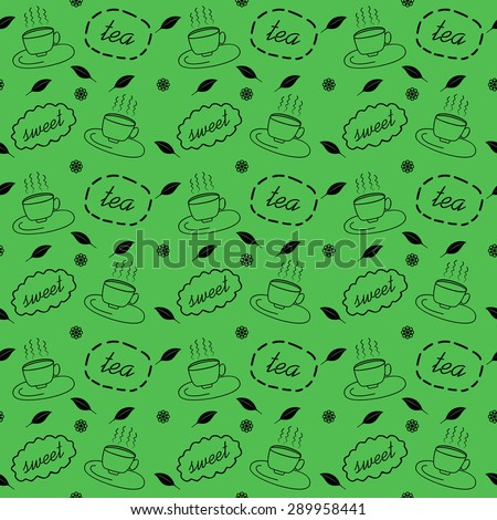 pattern with steaming cups of
