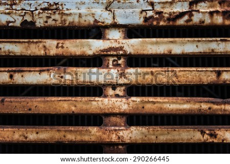 rusty metal on the grill from