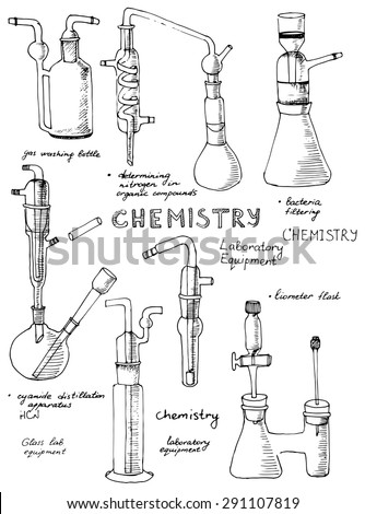 set of hand drawn science
