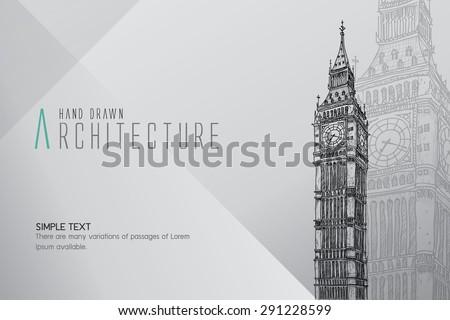 hand drawn big ben tower