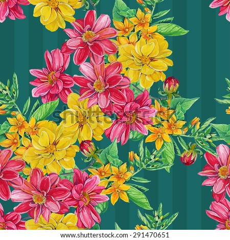 seamless pattern of dahlia