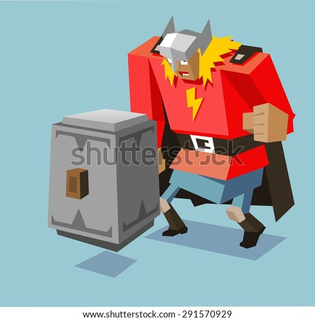 thor with big hammer vector