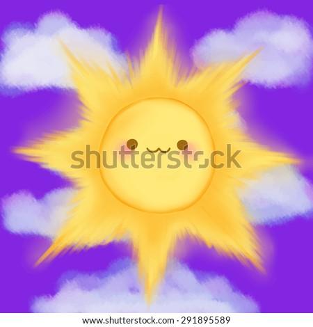 cute cartoon smiling sun clouds