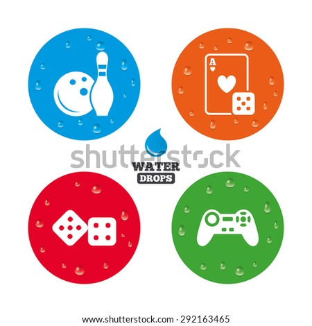 water drops on button bowling