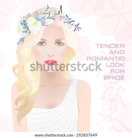 beauty face of bride vector