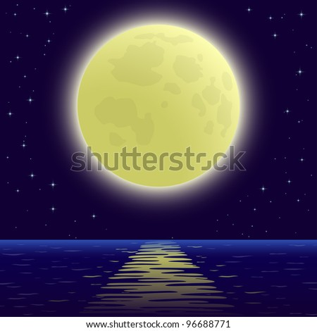 night sea landscape background