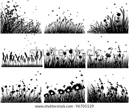 nine vector grass silhouettes