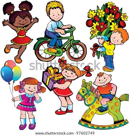 happy children vector art