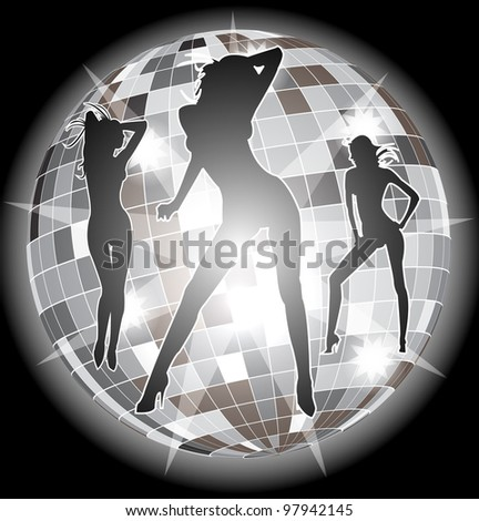 shiny disco ball with girls