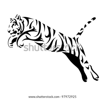 tribal tiger jump   vector