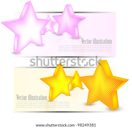 set of banners with stars and