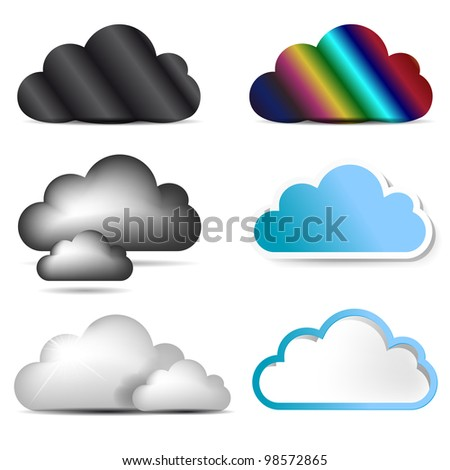 vector cloud icon set