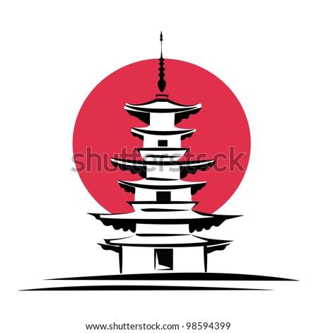 pagoda  sunrise  japan