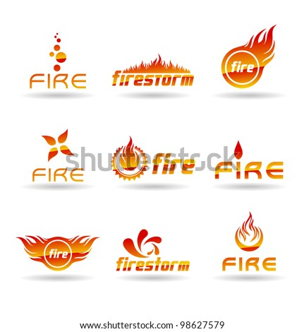 set of abstract fire icons