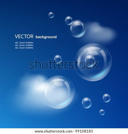 blue sky with clouds and bubbles