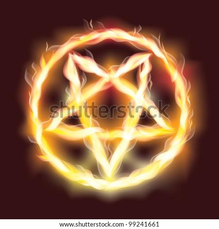 satanic fire pentagram   vector