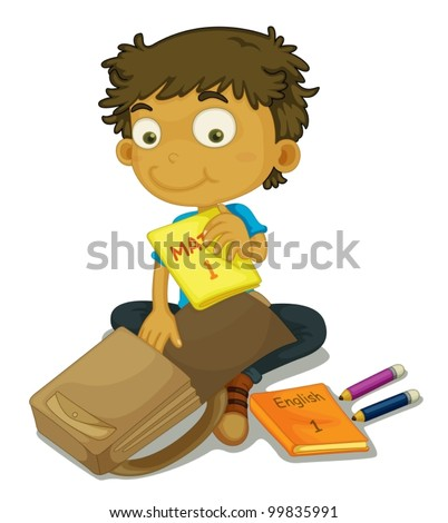 illustration of a child packing