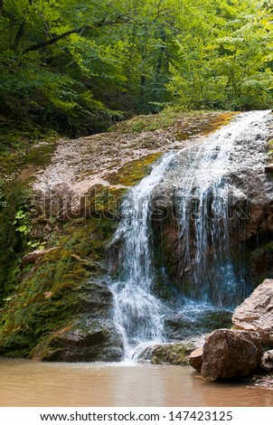 A beautiful waterfall in the summer woods