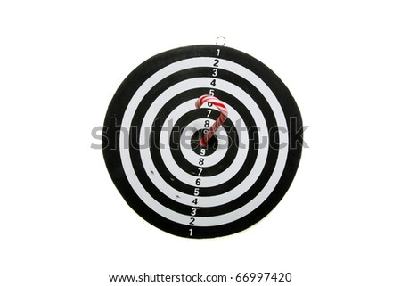 "a black and white target with a candy cane in the ""bulls eye"" isolated on white with room for your text or images"