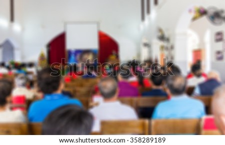 A blur of activity in the Church , use for background. - stock photo